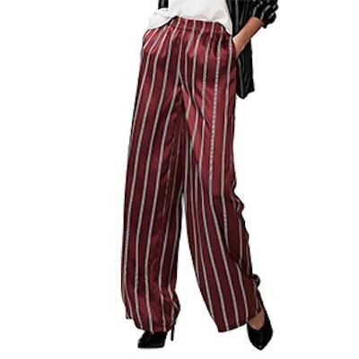 Petite Mid Rise Striped Wide Leg Dress Pants