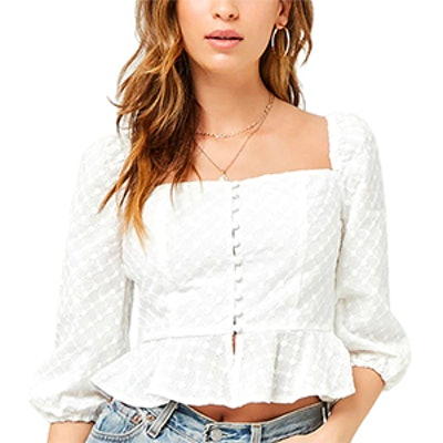 Eyelet Square-Neck Top