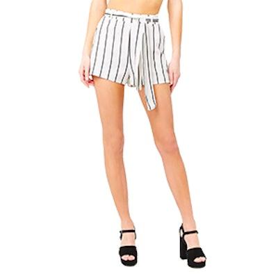 Striped Self-Tie Shorts