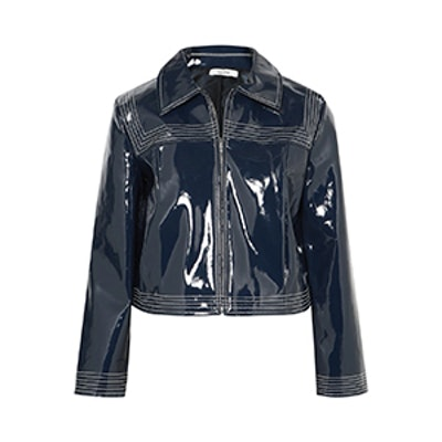 Cropped Faux Patent-Leather Jacket