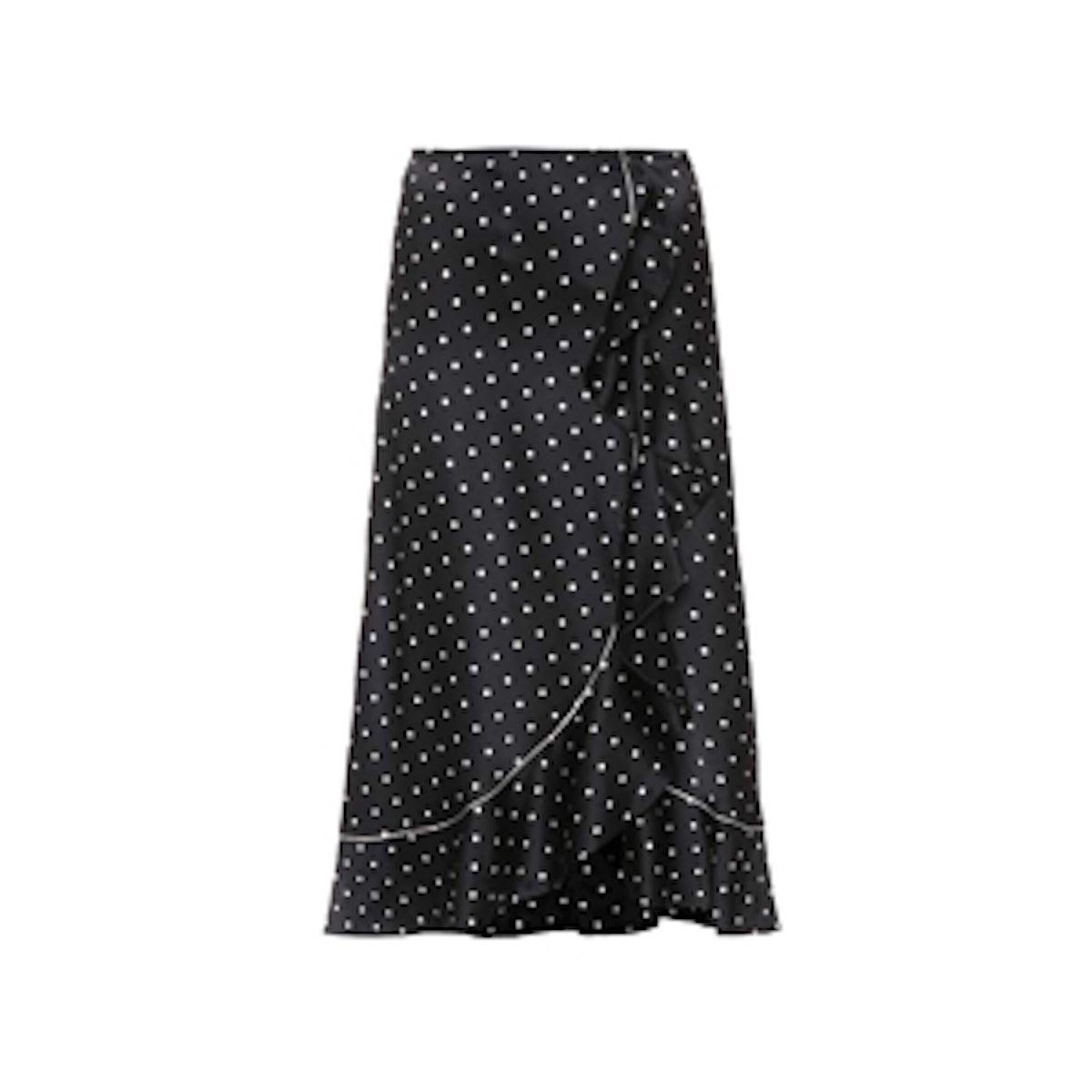Polka-Dot Silk Satin Skirt