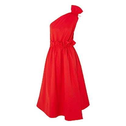 One-Shoulder Ruffled Jersey Midi Dress