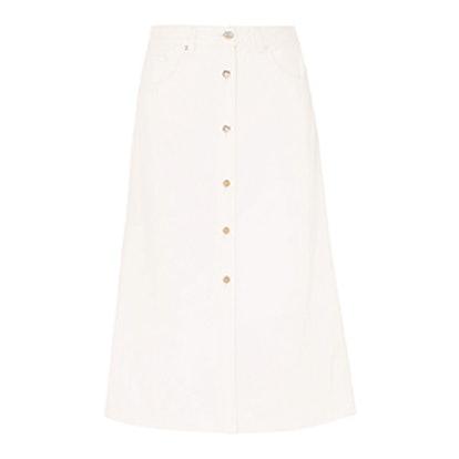 The Button Front Denim Midi Skirt