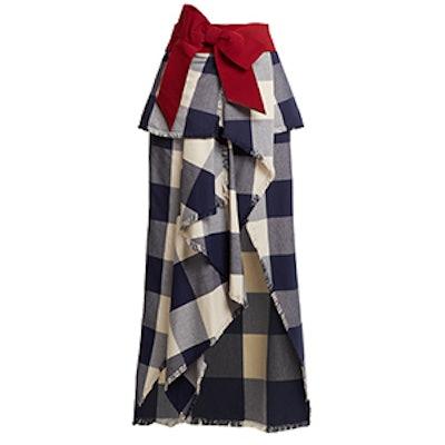 El Crisol Cotton-Plaid Maxi Skirt