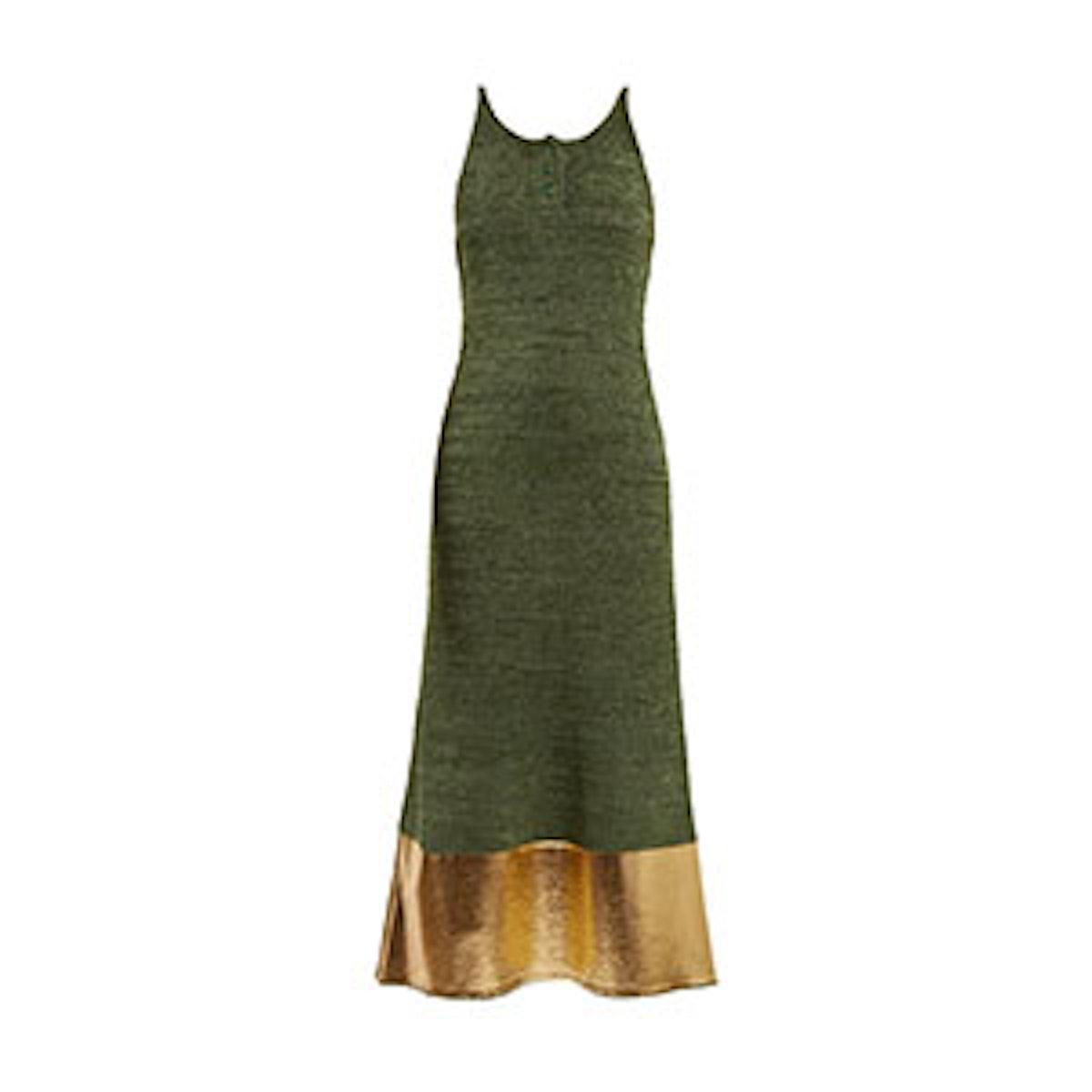 Foil-Panel Sleeveless Knit Dress