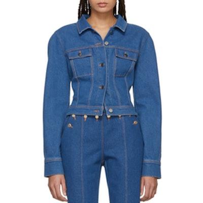 Blue Cropped Round Shoulders Denim Jacket