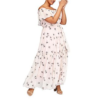 Off-The-Shoulder Ruffle Maxi Dress