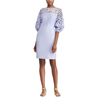 Lace-Yoke Crepe Dress