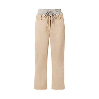 Layered Cotton-Gabardine And Stretch-Jersey Straight-Leg Pants