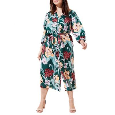 Plus Tropical Tie Waist Midi Shirtdress