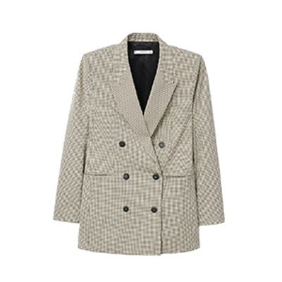 Double-Breasted Check Suit Blazer