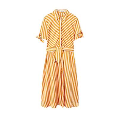 Mango Striped Bow Dress