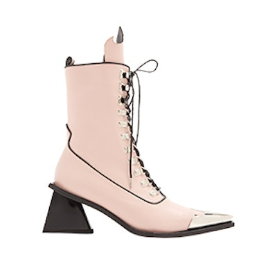 Point-Toe Lace-Up 'MA' Leather Ankle Boots