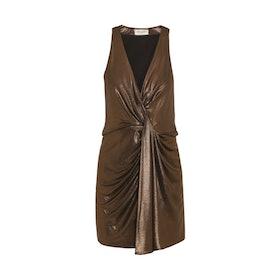 Draped Lamé Mini Dress