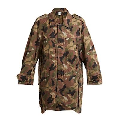 Oversized Camouflage-Print Cotton Shirtdress