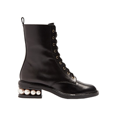 Casati Pearl Heel Lace-Up Combat Boot