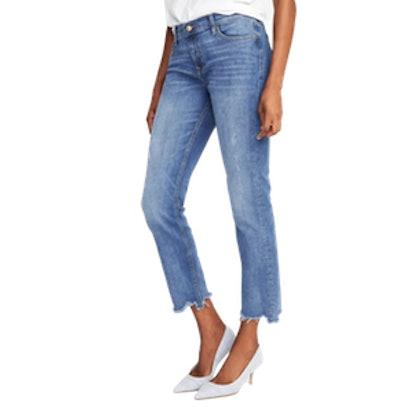 Eco-Friendly Boyfriend Straight Raw-Hem Jeans for Women