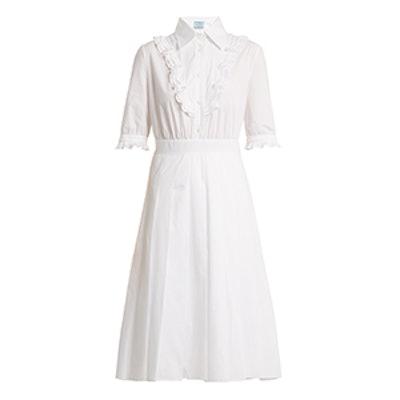 Ruffle-Trimmed Cotton-Poplin Dress