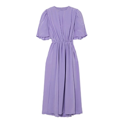 Gathered Silk Midi Dress