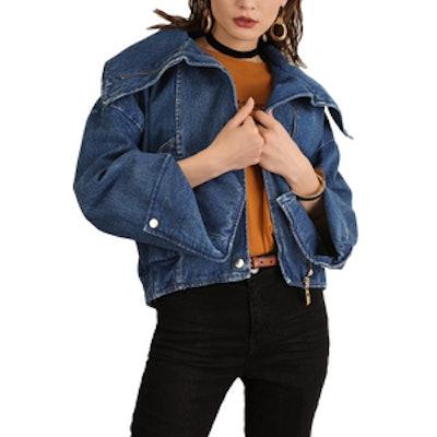 Denim Oversized Moto Jacket