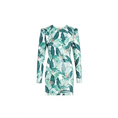 Amelia Palm Printed Sequin Mini Dress