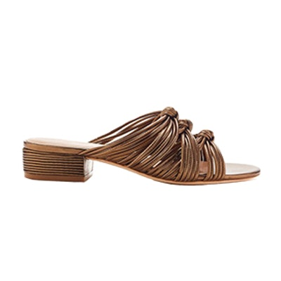 Wren Knotted Metallic Leather Slides