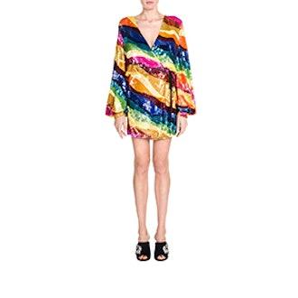 Sequin Striped Wrap Dress