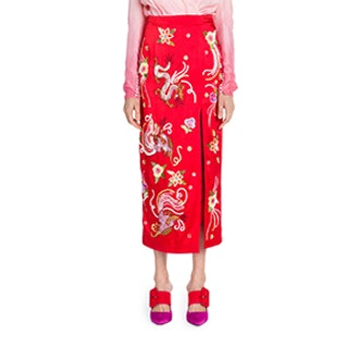 Satin Embroidered Pencil Skirt