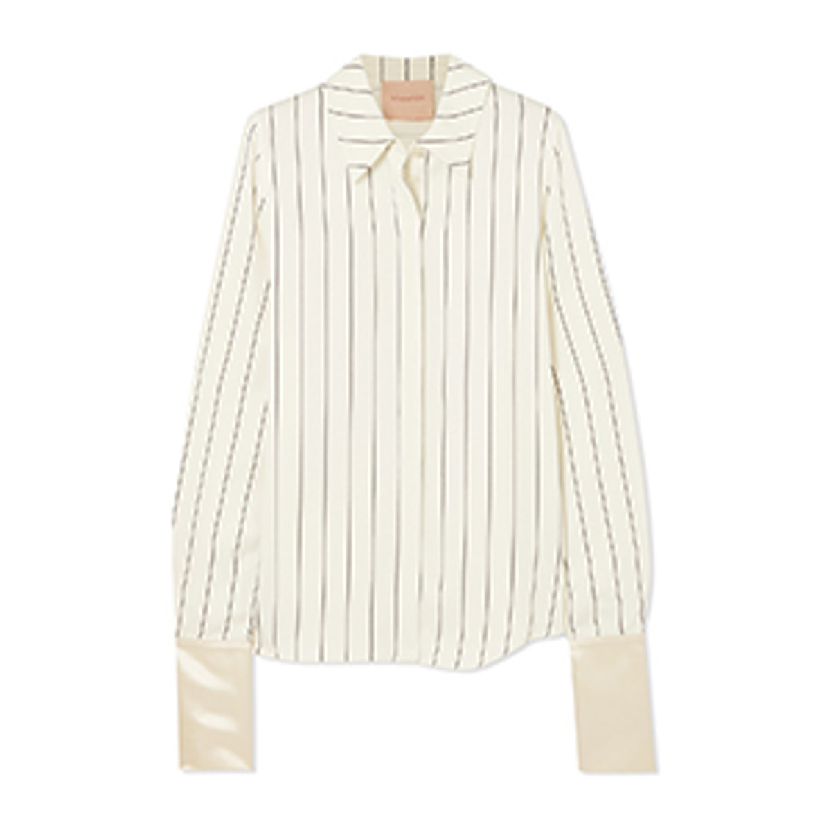 Kanika Satin-Trimmed Striped Crepe De Chine Shirt