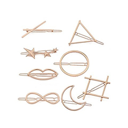 Adecco Minimalist Dainty Rose Gold Hollow Geometric Metal Hairpin Hair Clip Clamps