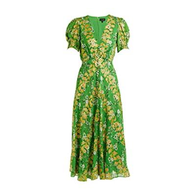 Lea Floral-Jacquard Puff-Sleeved Silk-Blend Dress
