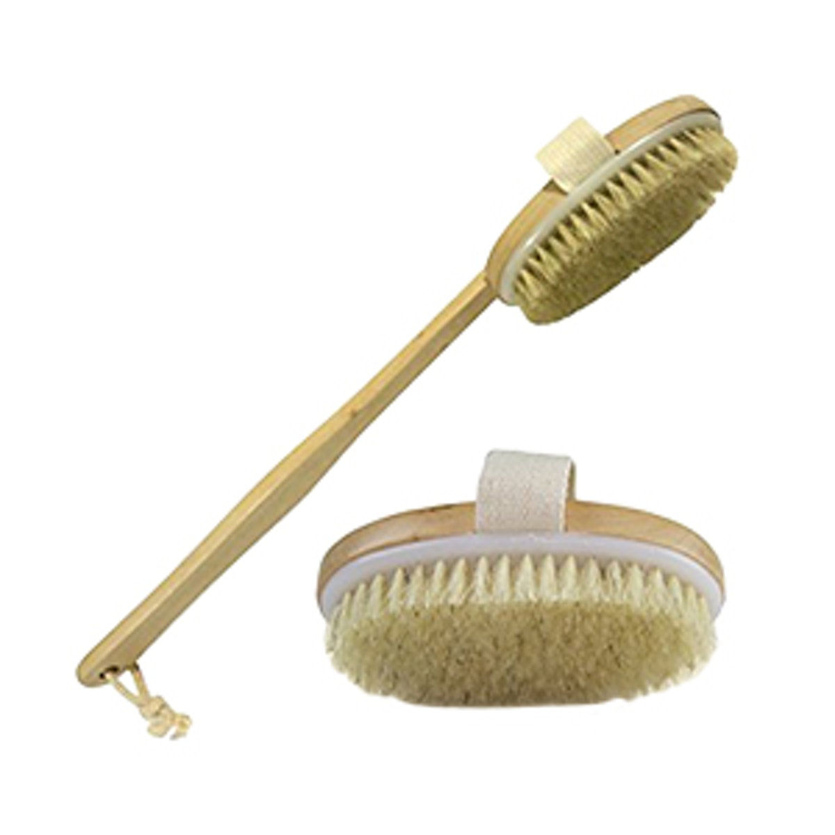 Wholesome Beauty Dry Skin Body Brush with Removable 11-Inch Wood Handle
