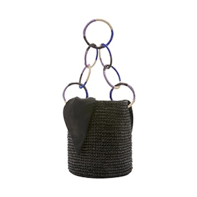 M'O Exclusive Medium Ring Embellished Straw Bucket