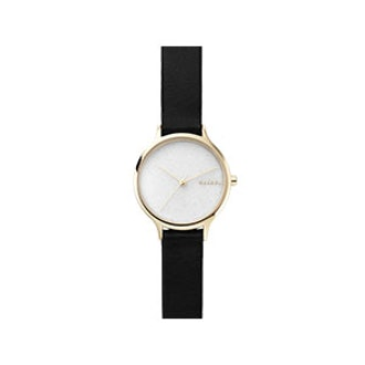 Anita Black Leather Stone Watch