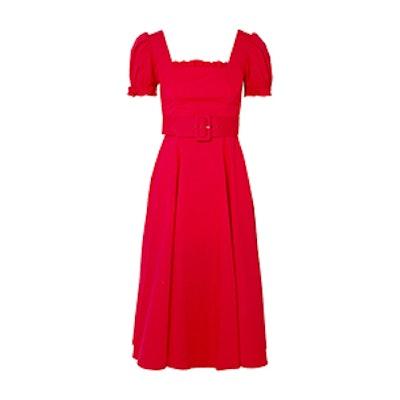 Maryann Ruffled Cotton-Blend Poplin Midi Dress