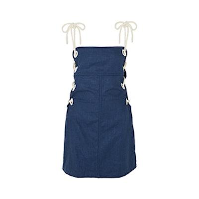 Raft Lace-Up Linen-Blend Mini Dress
