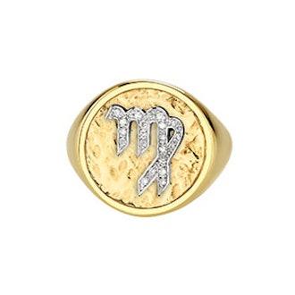 Diamond Coin Zodiac Ring
