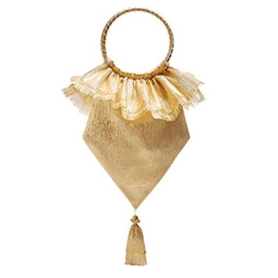 Tassel-Embellished Woven Clutch