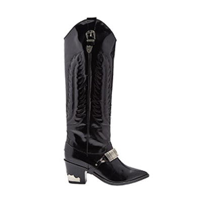 Buckle-Strap Knee-High Leather Boots