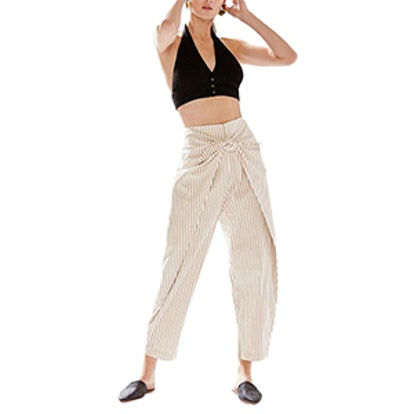 High-Rise Wrap Front Striped Pant