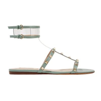 Moonwalk PVC-Trimmed Studded Metallic Leather Sandals