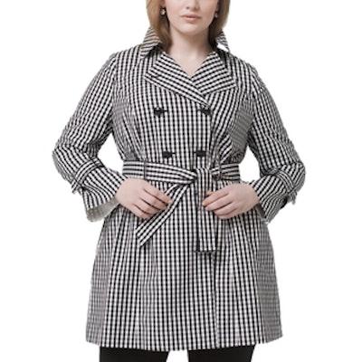 Plus Gingham Trench Coat