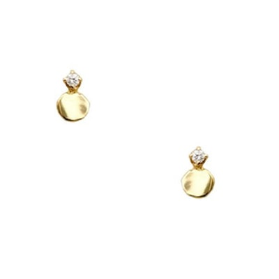 Small Disc Studs With Diamonds