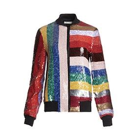 Lonnie Embellished Cropped Bomber Jacket