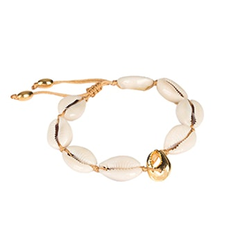 Natural Large Poka Shell Bracelet With Gold Crab Shell