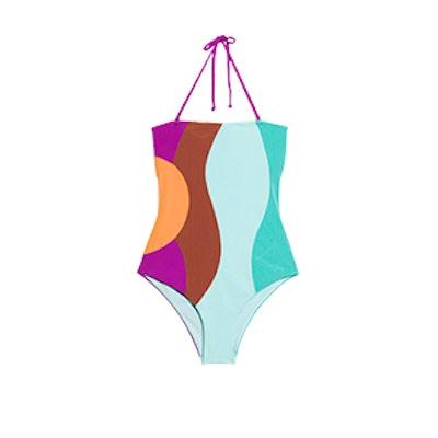 Colour Wave Halter Swimsuit