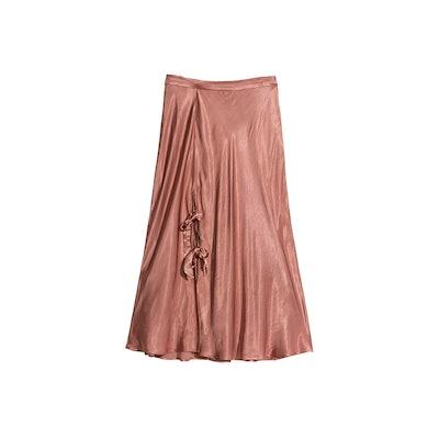 Duo Bow Slit Midi Skirt