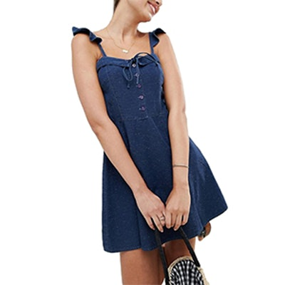Denim Mini Dress With Frill Strap Detail
