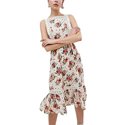 Pinafore Midi Dress In Ditsy Print