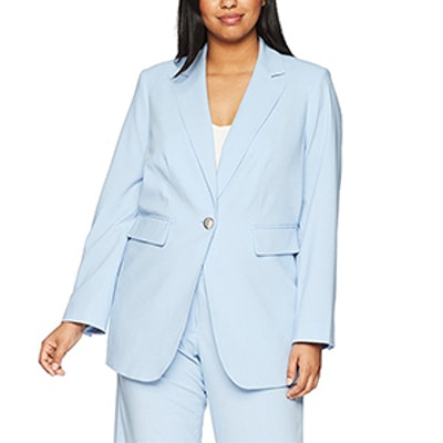 Calvin Klein Plus Size One Button Lux Blazer